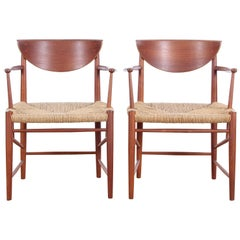 Mid-Century Modern Danish Pair of Armchairs in Teck Model 317