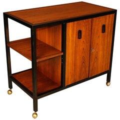 Mid-Century Modern Danish Rosewood Rolling Bar Cart Cabinet