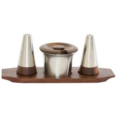 Mid-Century Modern Danish Rosewood Salt and Pepper Shaker Set by Lundtofte