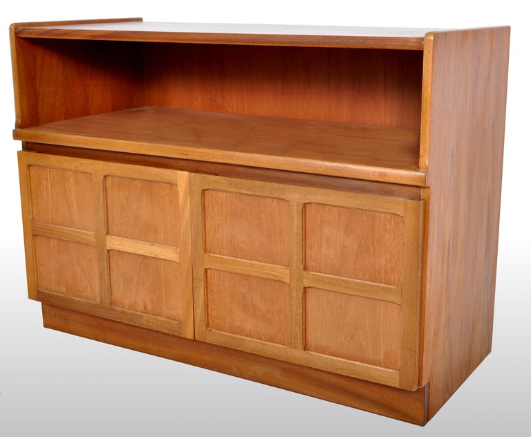 English Mid-Century Modern Danish Style Media Cabinet in Teak by Nathan Furniture, 1960s For Sale