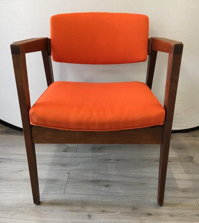 Scandinavian Modern Mid-Century Modern Danish Style Orange Upholstered Lounge Chair For Sale