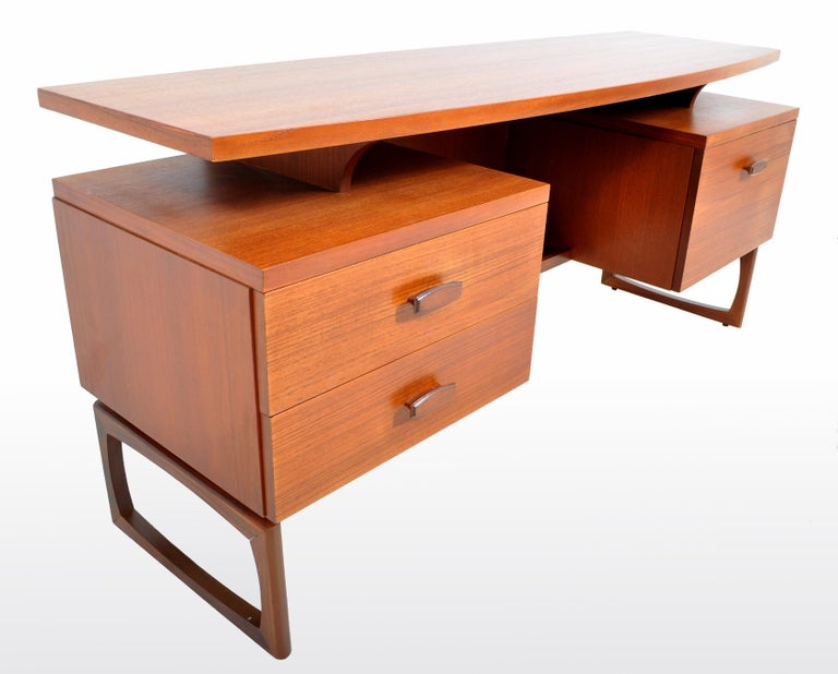 English Mid-Century Modern Danish Style Teak Desk by Ib Kofod-Larsen for G Plan, 1960s For Sale