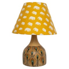 Mid-Century Modern Danish Table Lamp with Peacock Pattern by Margrethe Dybdahl