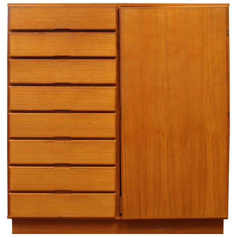 Mid-Century Modern Danish Teak 10-Drawer Highboy Dresser For Sale