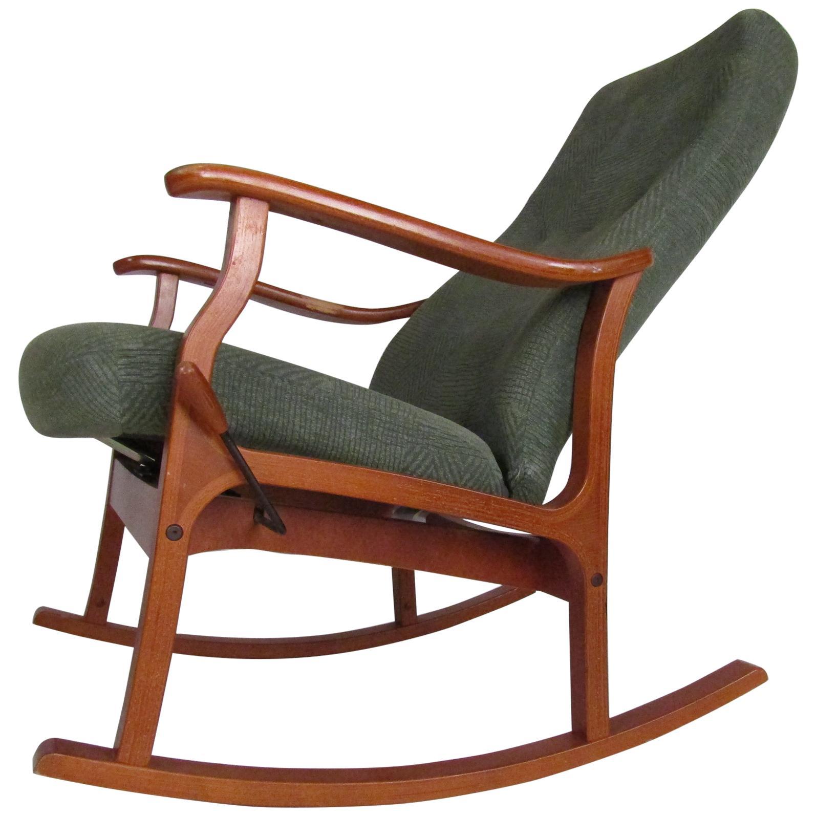 Mid-Century Modern Danish Teak Adjustable Rocking Chair