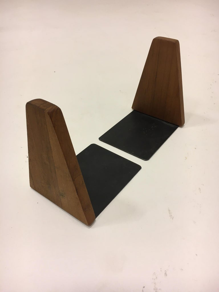 Mid-Century Modern Danish Teak Book Ends, Denmark, 1950s In Good Condition For Sale In Vienna, AT