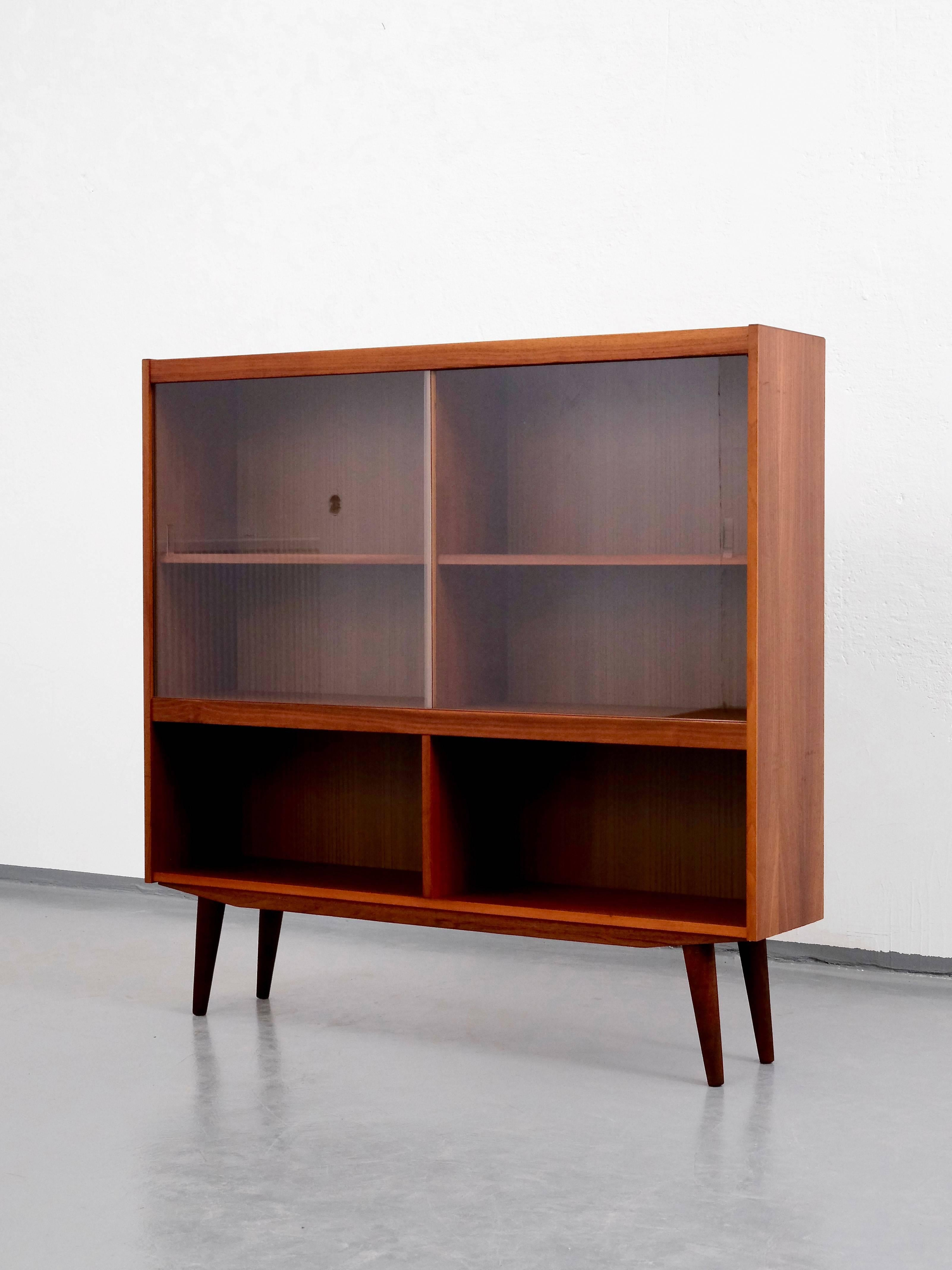Mid Century Modern Danish Teak Bookcase With Sliding Gl Doors At 1stdibs