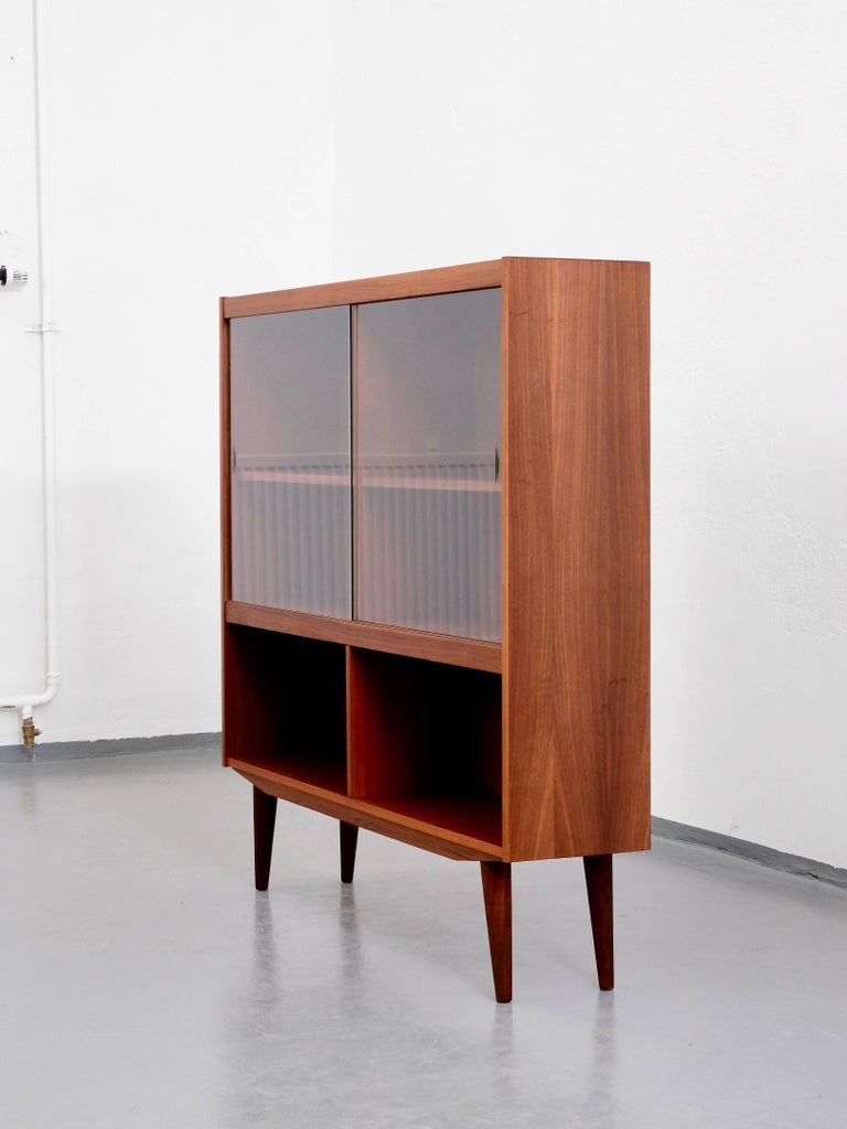 Scandinavian Modern Mid Century Danish Teak Bookcase With Sliding Gl Doors For