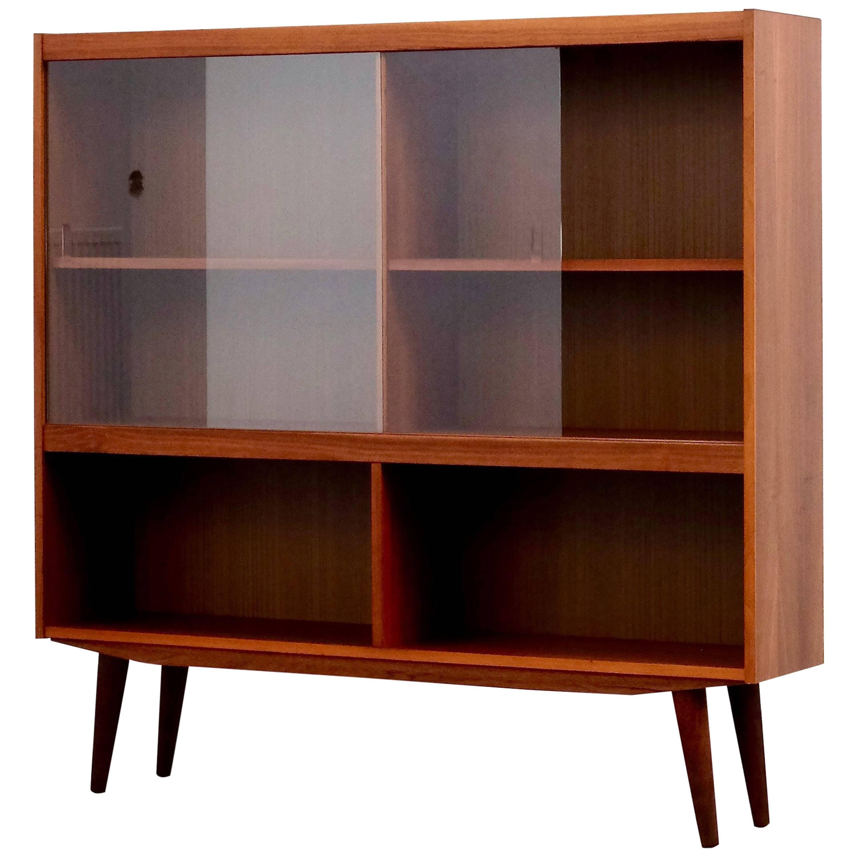 Mid Century Modern Danish Teak Bookcase With Sliding Glass