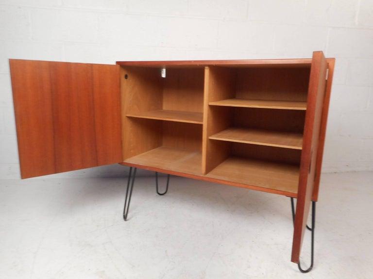 Mid-20th Century Mid-Century Modern Danish Teak Cabinet with Hairpin Legs For Sale