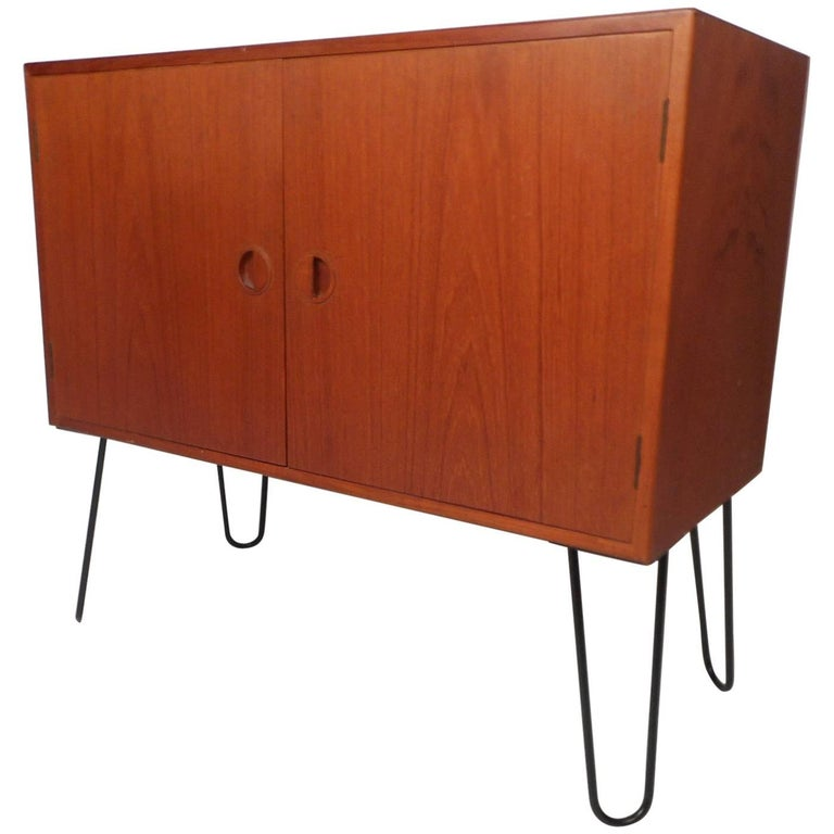Mid-Century Modern Danish Teak Cabinet with Hairpin Legs For Sale