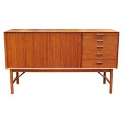 Mid-Century Modern Danish Teak Credenza Dresser Tambour Doors 1960s Larsen Style