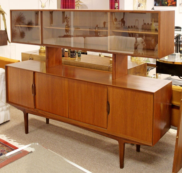 Dining Table And Hutch Set: Mid-Century Modern Danish Teak Credenza Hutch Dining Table