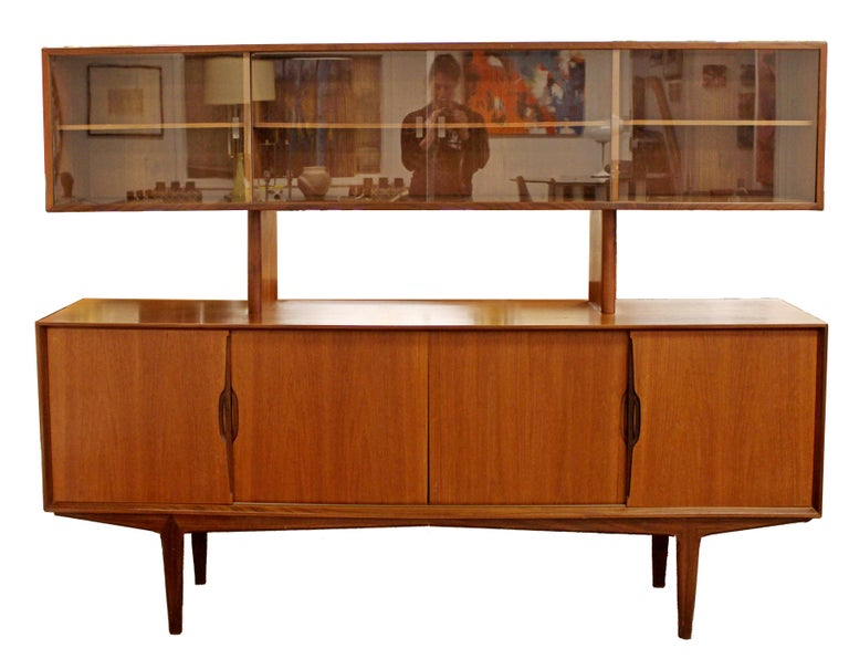 Mid Century Modern Danish Teak Credenza Hutch Dining Table 6 Chairs Set 1960s In