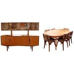 Mid-Century Modern Danish Teak Credenza Hutch Dining Table & 6 Chairs Set 1960s