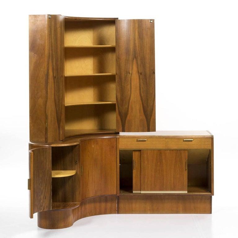 Teak corner storage desk Mid-Century Modern unit with curved front, Netherlands, 1960s.  Measures: 72