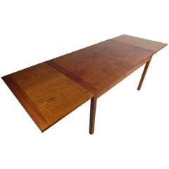Mid-Century Modern Danish Teak Draw Leaf Dining Table