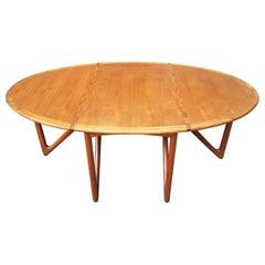 Mid-Century Modern Danish Teak Drop-Leaf Dining Table, Kurt Ostervig, Jason Mob