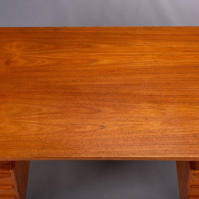 Mid-Century Modern Danish Teak Freestanding Desk by Valdermar Mortensen, 1960s For Sale 7