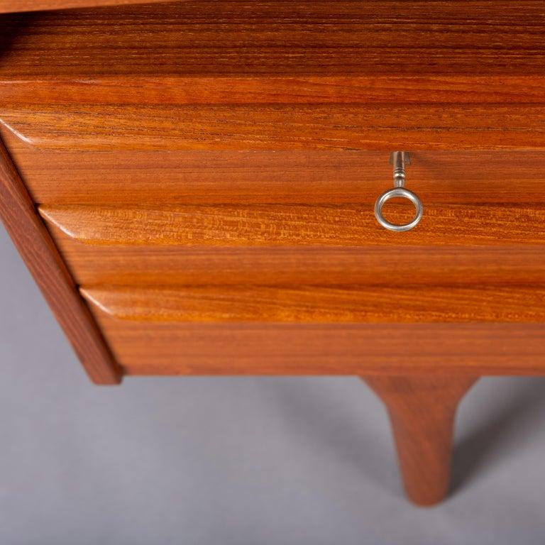 Mid-Century Modern Danish Teak Freestanding Desk by Valdermar Mortensen, 1960s For Sale 12