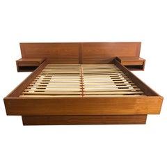 Mid-Century Modern Danish Teak Platform Bed Queen Size