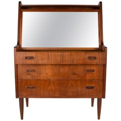 Mid-Century Modern Danish Teak Pull Up Mirror, Make Up Desk, Denmark, 1960s