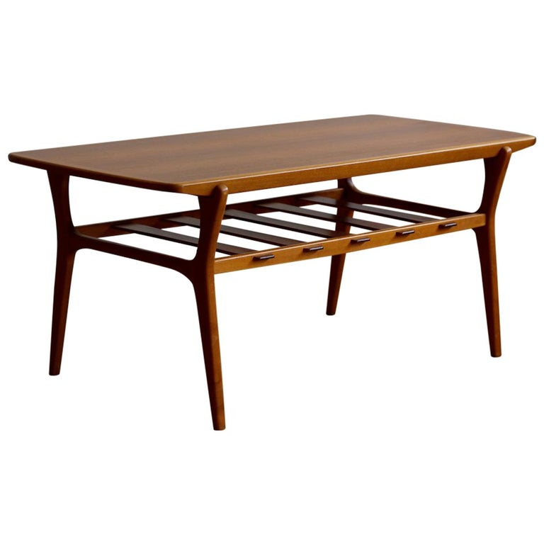 Mid-Century Modern Danish Teak Slat Shelf Coffee Table For