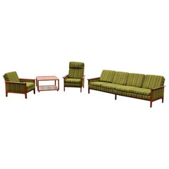 Mid-Century Modern Danish Teak Sofa Pair Lounge Armchairs End Table DUX Era