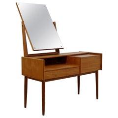 Mid-Century Modern Danish Teak Vanity Dressing Table Ostervig Vodder Style 1960s
