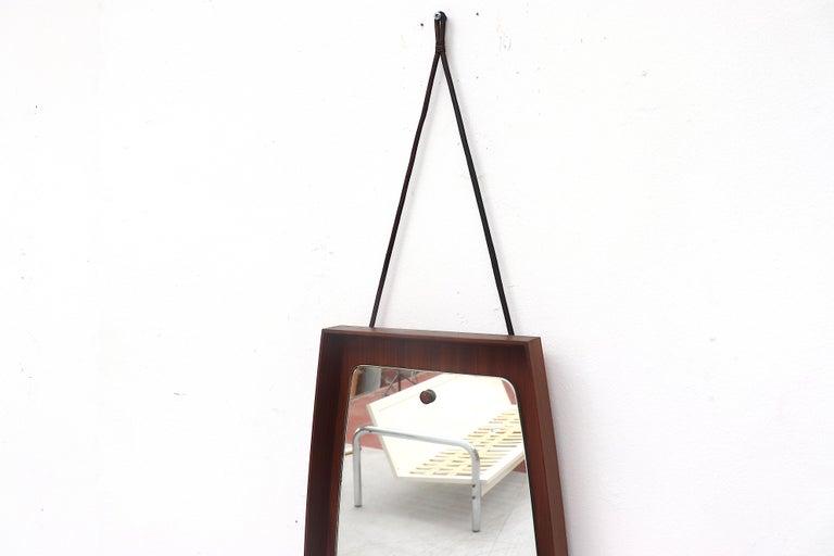 Carved Mid-Century Modern Danish Teak Wall Mirror For Sale