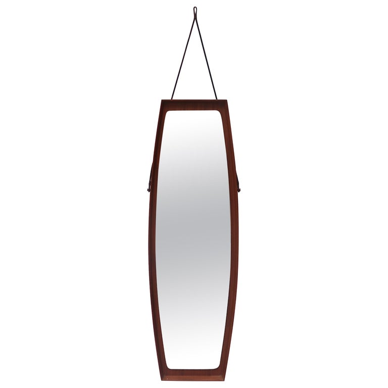 Mid-Century Modern Danish Teak Wall Mirror For Sale