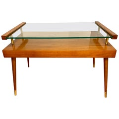 Mid-Century Modern Danish Two-Tiered Table Teak and Sliding Glass