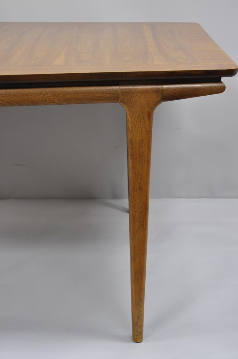 Mid Century Modern Danish Walnut Sculpted Edge Dining Table With 1