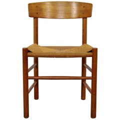Mid-Century Modern Danish Wood and Cord Side Accent Chair, 1950s