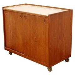 Mid-Century Modern Danish Wood Serving Bar Cart Sliding Doors 1960s Scandinavian