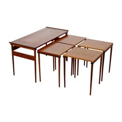 Mid-Century Modern Dansk Set of Teak Nesting Coffee Side Tables 1950-1960 Danish