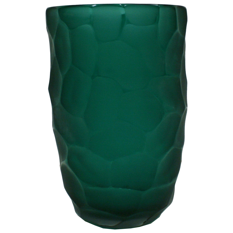Mid-Century Modern Davide Dona Sculptural Faceted Green Murano Glass Vase