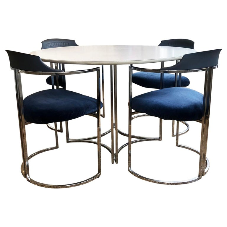 Mid-Century Modern Daystrom Dining Chairs and Table with White Melamine Top For Sale