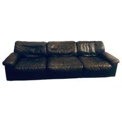 Mid-Century Modern De Sede Sofa, 1970s, Black Leather
