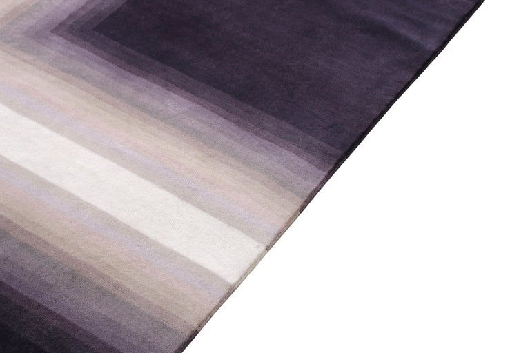 Indian Mid-Century Modern Deco Rug in Purple White Geometric Pattern by Rug & Kilim For Sale