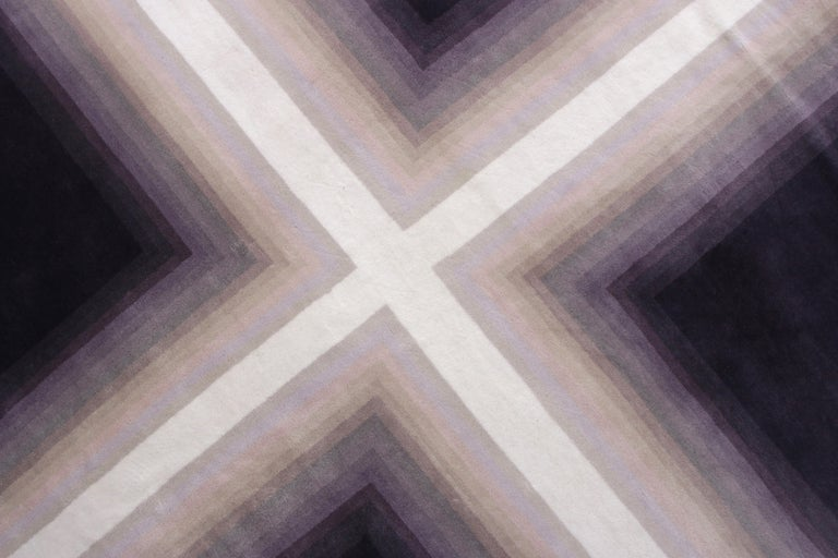 Hand-Knotted Mid-Century Modern Deco Rug in Purple White Geometric Pattern by Rug & Kilim For Sale