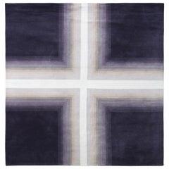 Mid-Century Modern Deco Rug in Purple White Geometric Pattern by Rug & Kilim