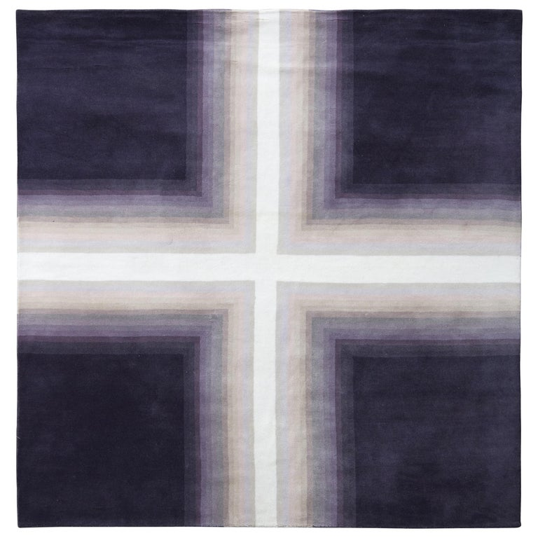 Mid-Century Modern Deco Rug in Purple White Geometric Pattern by Rug & Kilim For Sale