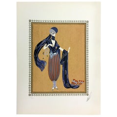 Mid-Century Modern Deco Unframed Calyph's Concubine Erte Signed Lithograph