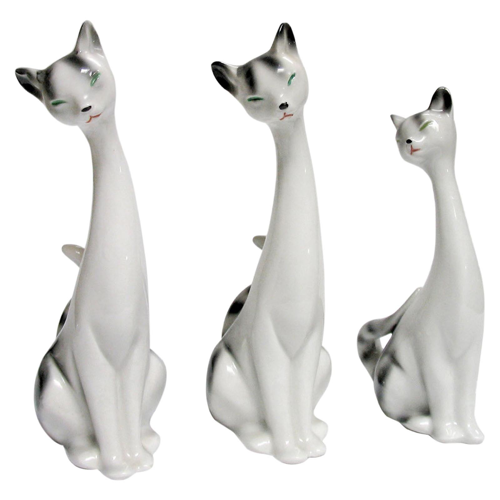 Mid-Century Modern Decorative Ceramic Cats, Sweden, 1970s