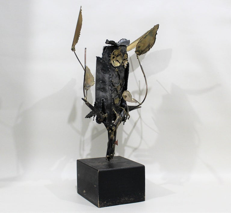 Brutalist metal and brass sculpture by Degroot.