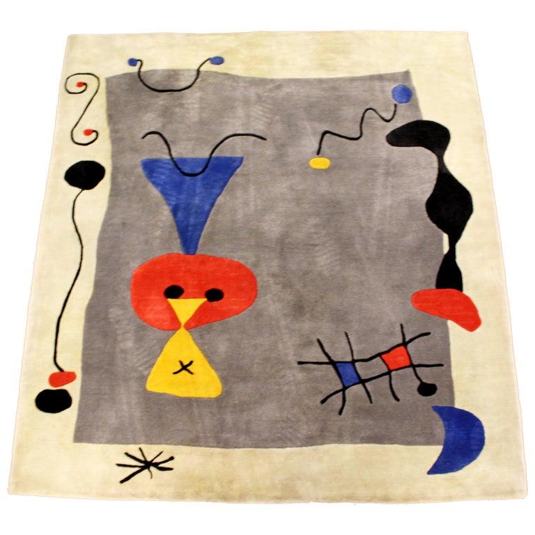 Mid Century Modern Della Robbia Joan Miro Wool Rug