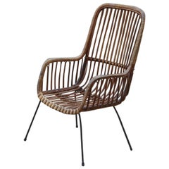 Mid-Century Modern Design Bamboo High Backrest Chairs Italian Design Iron Feet