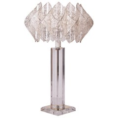 Mid-Century Modern Design Lucite Table Lamp with Acrylic Lotus Shade