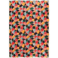 Mid-Century Modern Design Rug with Tile-Inspired Design and Unique Complexion